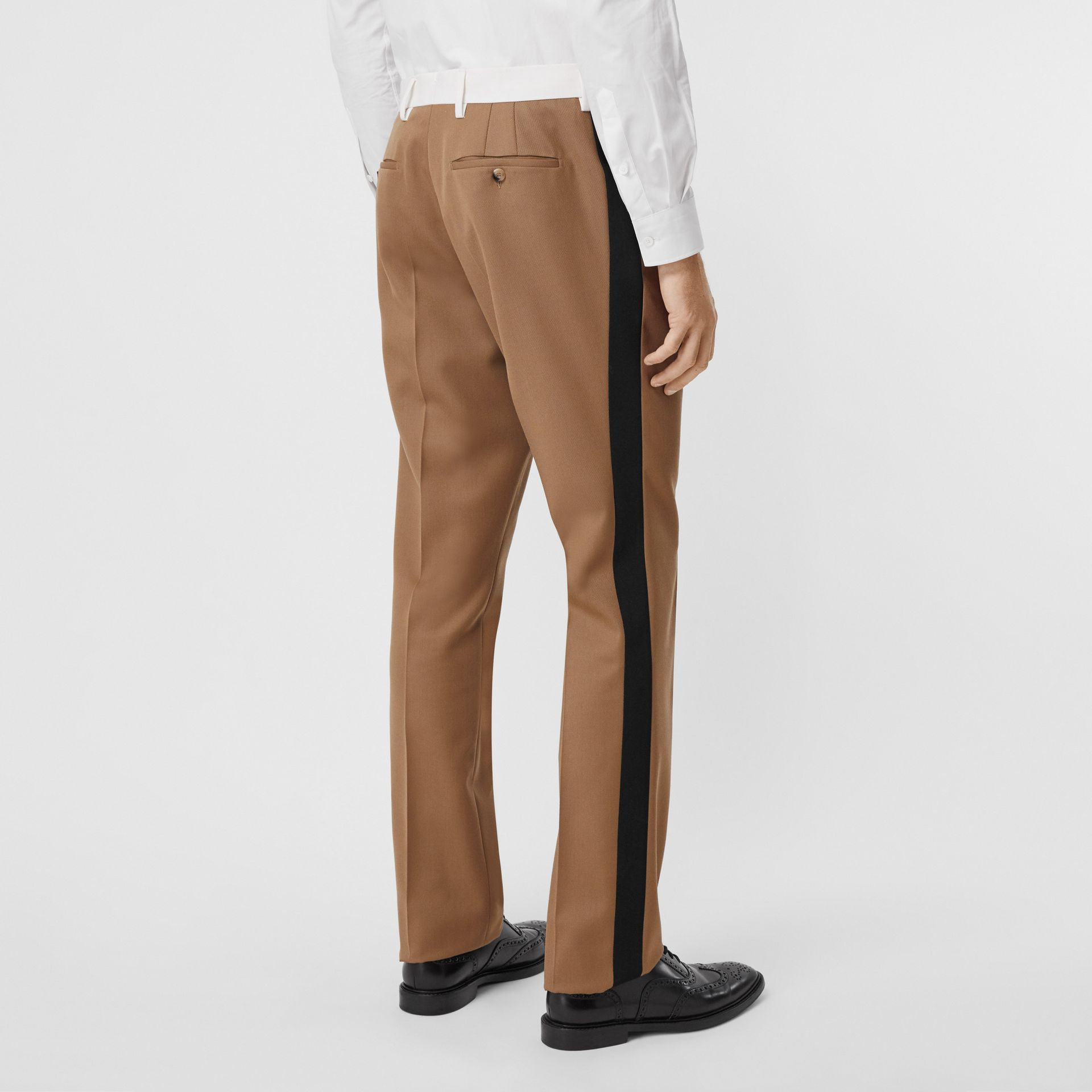Classic Fit Side Stripe Wool Tailored Trousers in Camel - Men | Burberry Canada - gallery image 2