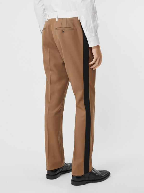 Classic Fit Side Stripe Wool Tailored Trousers in Camel - Men | Burberry Canada - cell image 2