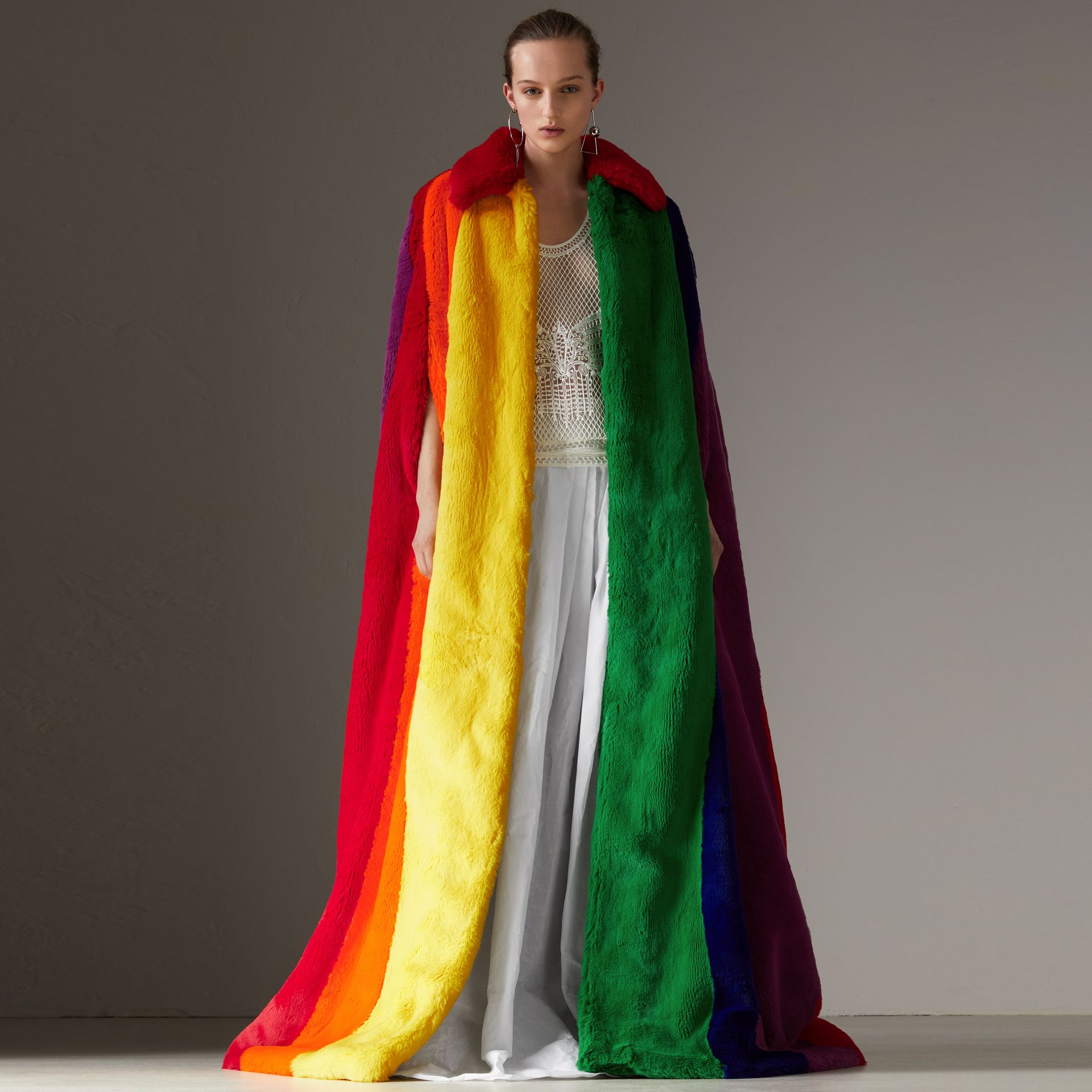 Rainbow Faux Fur Cape - Women | Burberry - gallery image 0