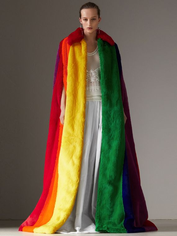 Rainbow Faux Fur Cape