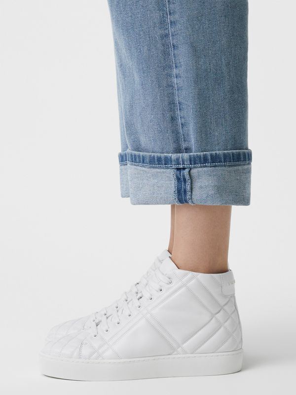 Check-quilted Leather High-top Sneakers in Optic White - Women | Burberry United Kingdom - cell image 2