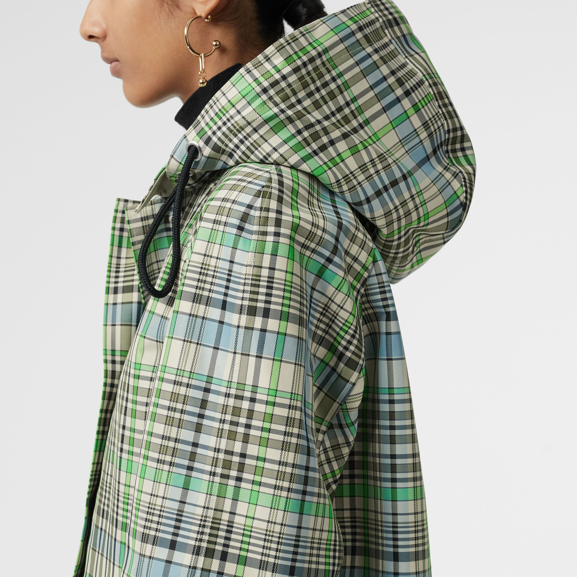 Detachable Hood Check Bonded Cotton Car Coat in Tourmaline Green - Women | Burberry United Kingdom - gallery image 4