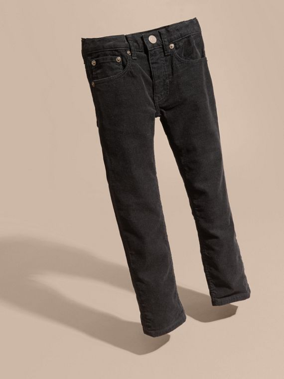 Stretch Corduroy Jeans in Black | Burberry Singapore - cell image 2