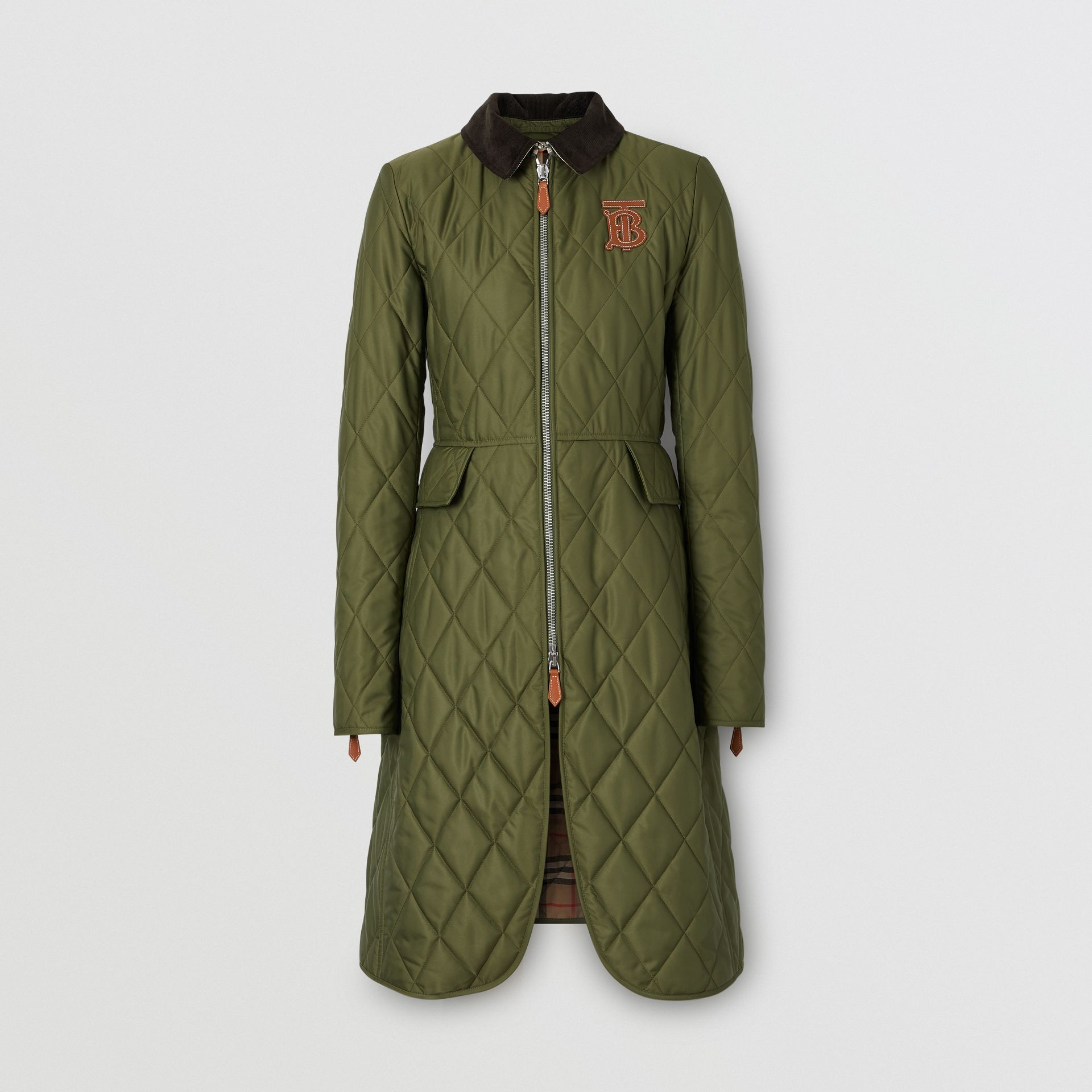 Monogram Motif Quilted Riding Coat in Utility Green - Women | Burberry - gallery image 4