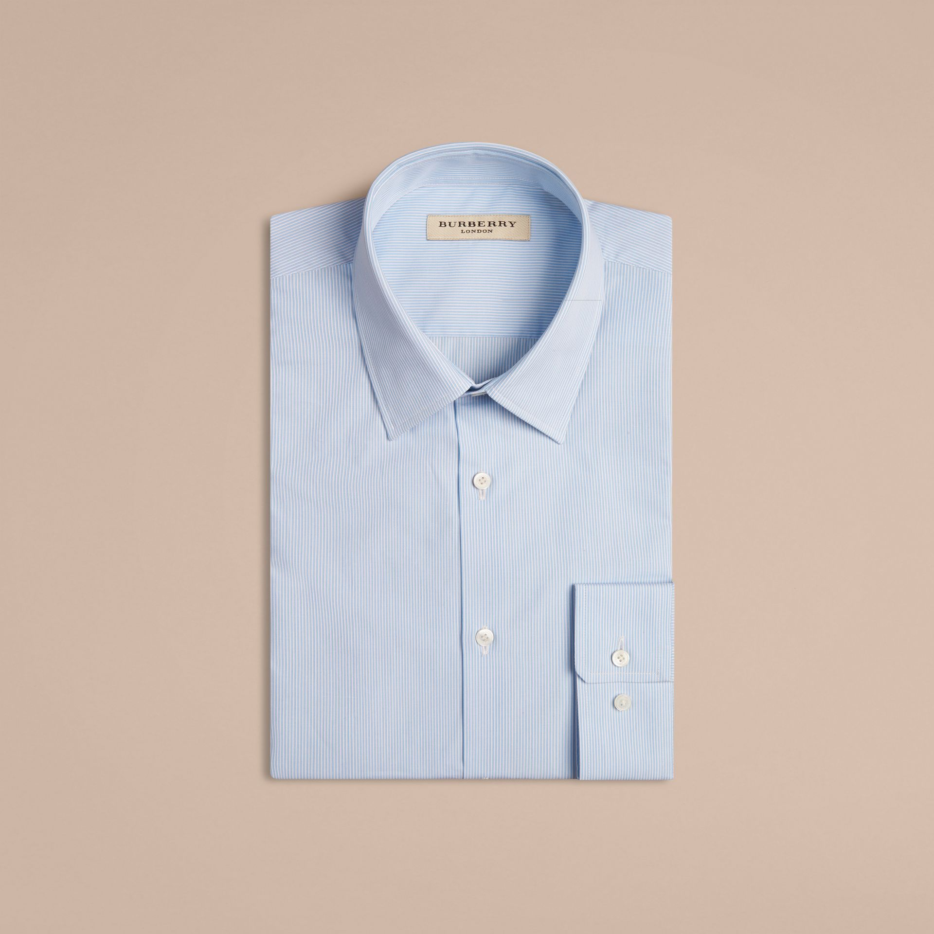 Modern Fit Striped Cotton Poplin Shirt in City Blue - Men | Burberry - gallery image 5