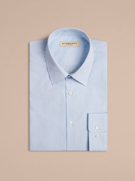 Modern Fit Striped Cotton Poplin Shirt in City Blue
