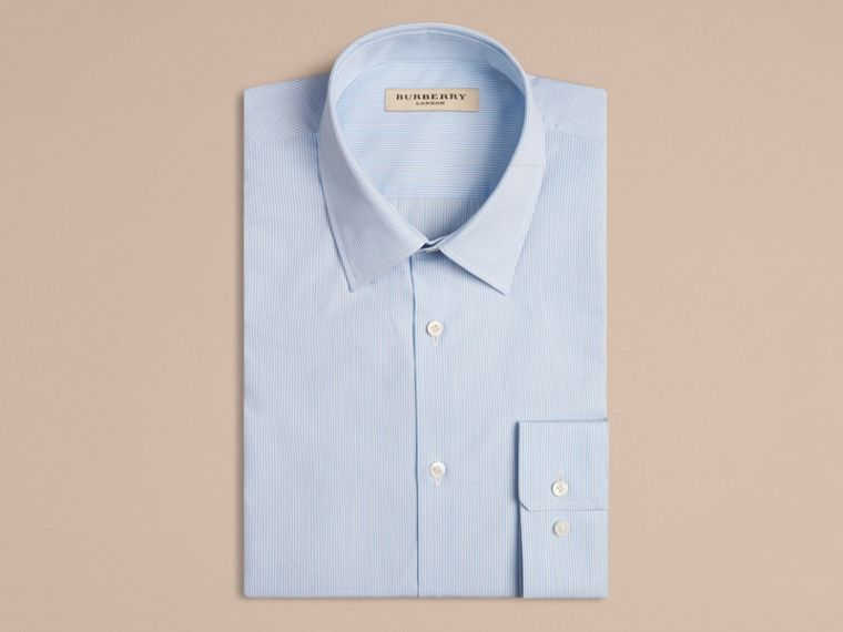Modern Fit Striped Cotton Poplin Shirt in City Blue - Men | Burberry - cell image 4