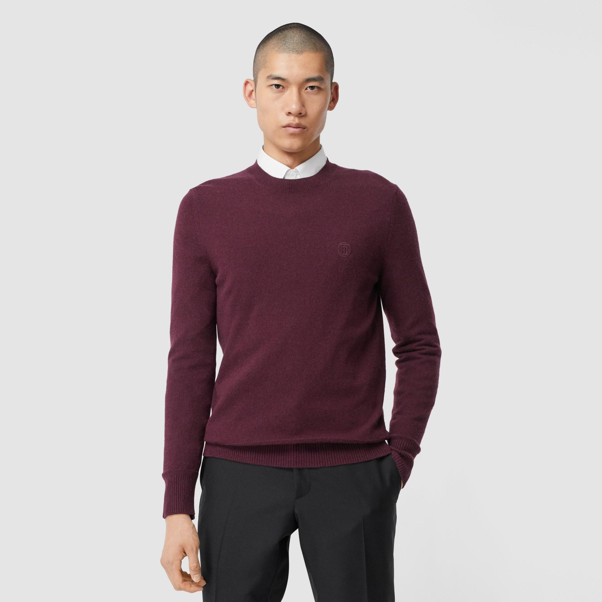 모노그램 모티프 캐시미어 스웨터 (버건디) - 남성 | Burberry - 갤러리 이미지 0