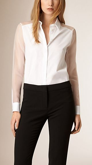 Sheer Silk Detail Cotton Shirt
