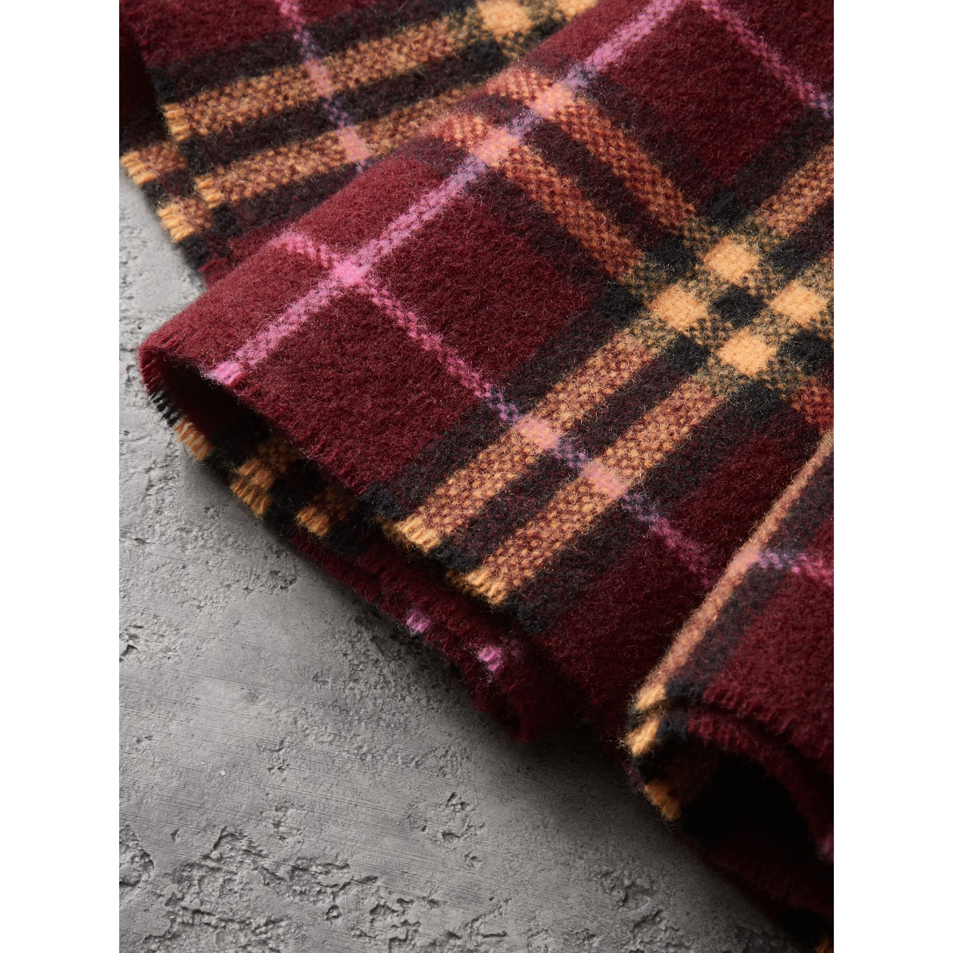 Check Cashmere Scarf in Dark Crimson | Burberry - gallery image 1