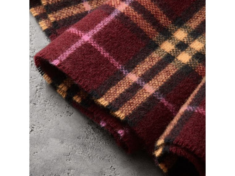 Check Cashmere Scarf in Dark Crimson | Burberry Australia - cell image 1
