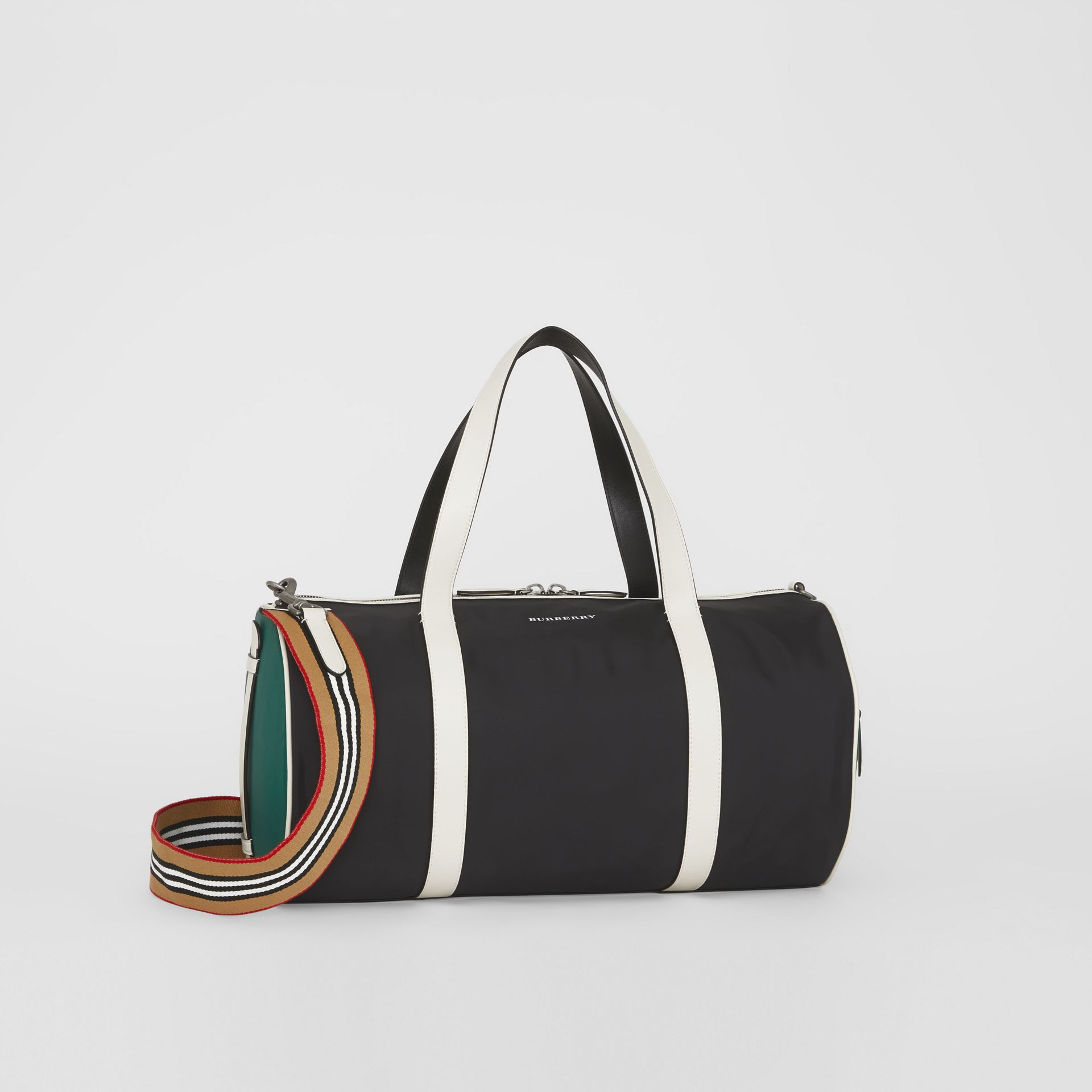 Sac The Barrel moyen en nylon et cuir tricolore (Noir) - Homme | Burberry Canada - photo de la galerie 0