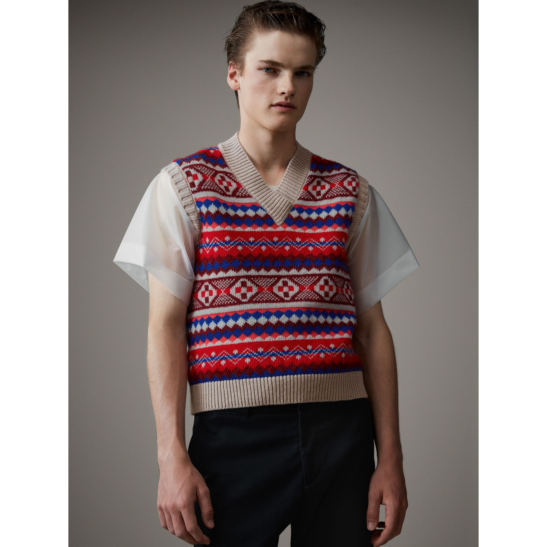 Fair Isle Wool Cropped Tank Top in Oatmeal - Men | Burberry - gallery image 4