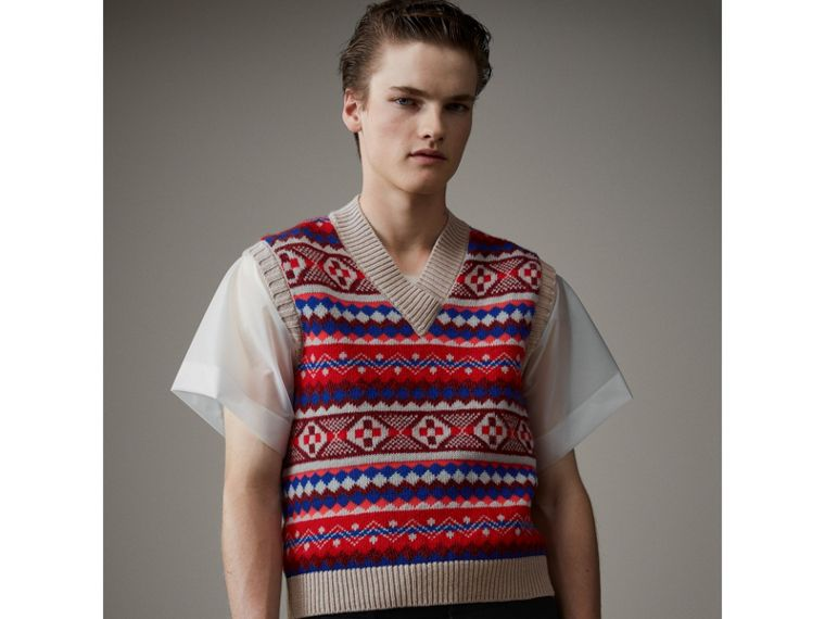 Fair Isle Wool Cropped Tank Top in Oatmeal - Men | Burberry - cell image 4