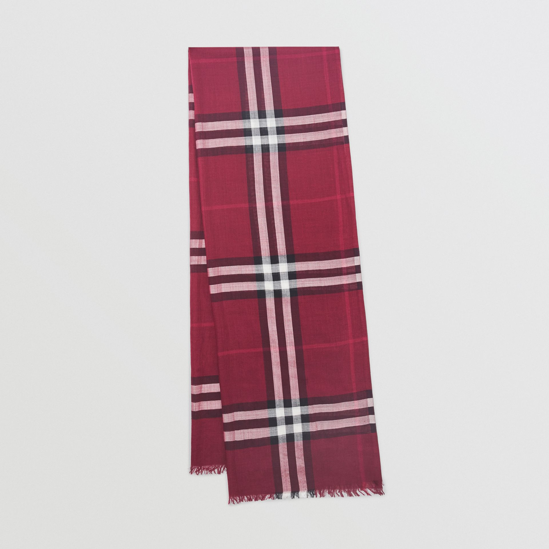 Lightweight Check Wool and Silk Scarf in Plum | Burberry Australia - gallery image 0