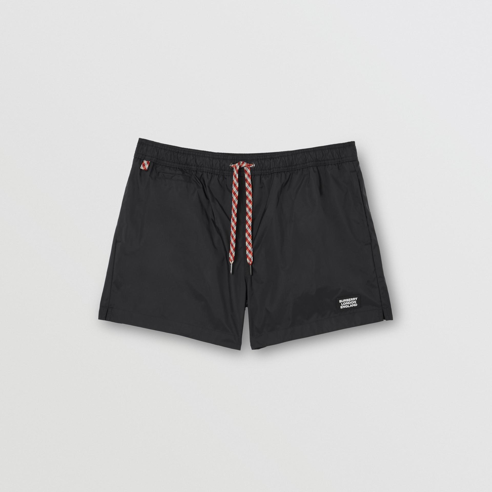 Logo Appliqué Drawcord Swim Shorts in Black - Men | Burberry Australia - gallery image 2