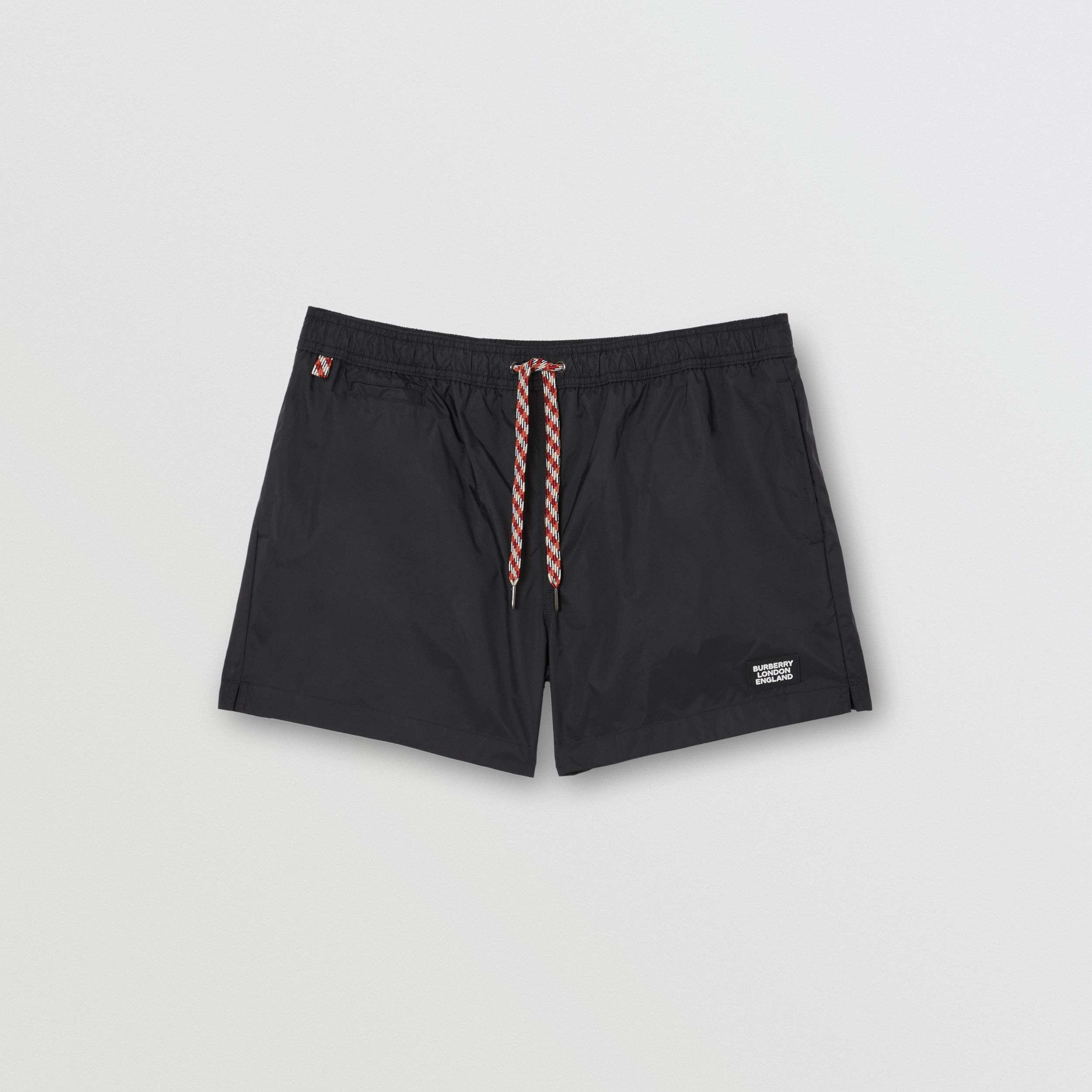 Logo Appliqué Drawcord Swim Shorts in Black - Men | Burberry - 3