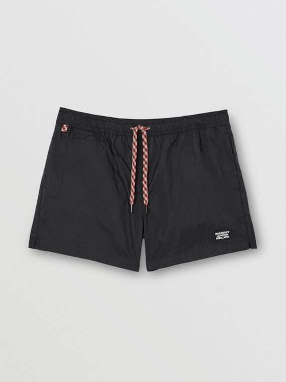 Logo Appliqué Drawcord Swim Shorts in Black