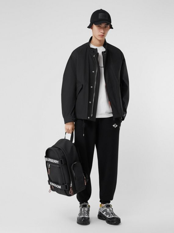Bonded Cotton Jacket with Detachable Warmer in Black