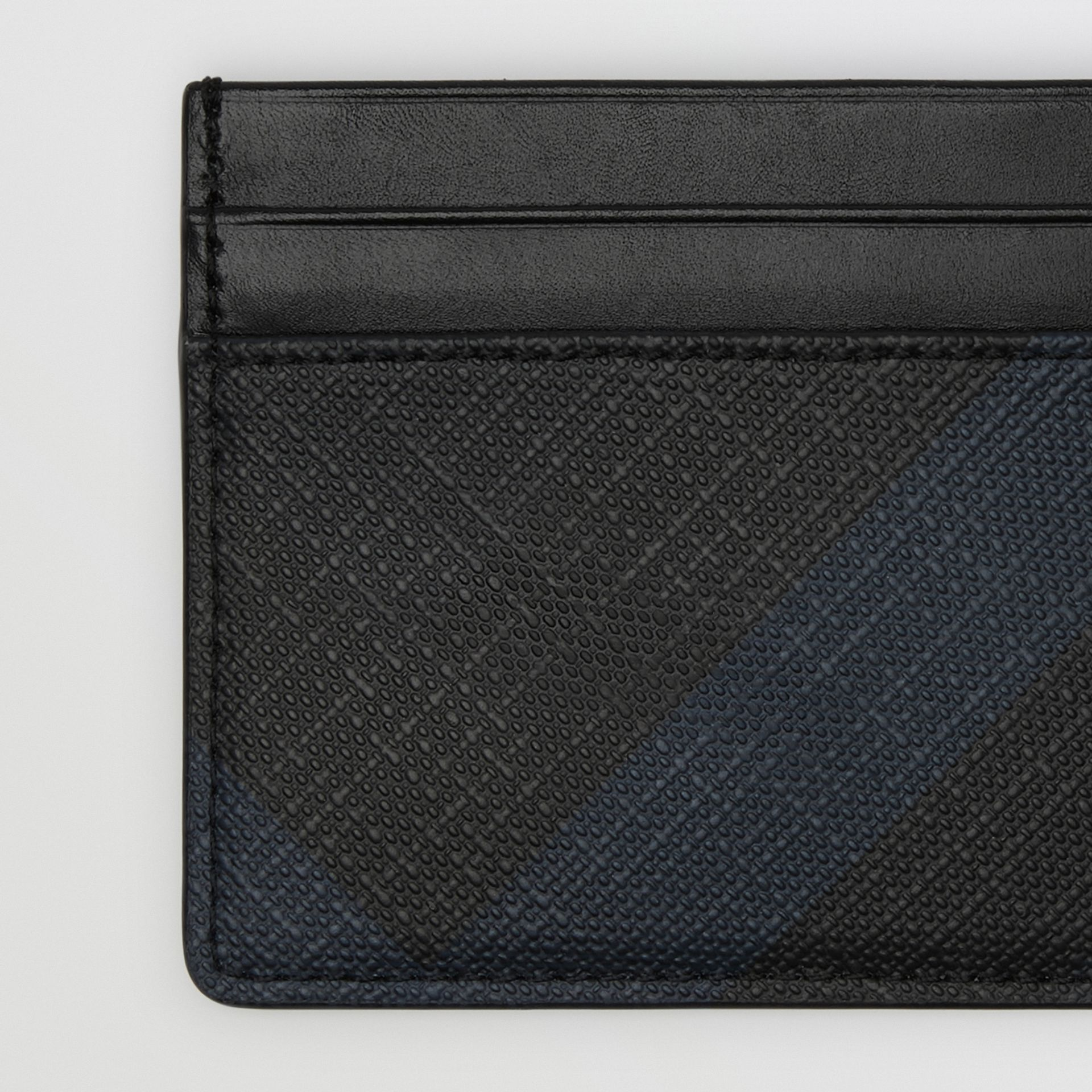 London Check Card Case in Navy/black | Burberry - gallery image 1