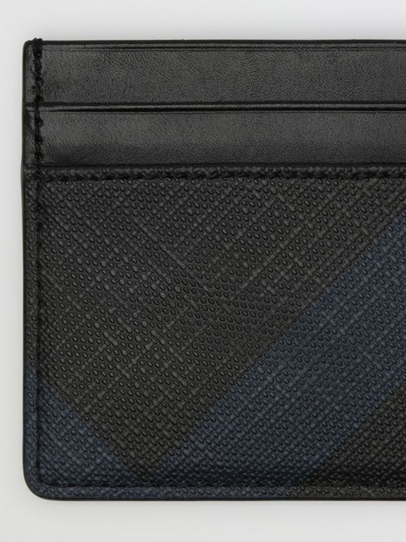 London Check Card Case in Navy/black | Burberry - cell image 1
