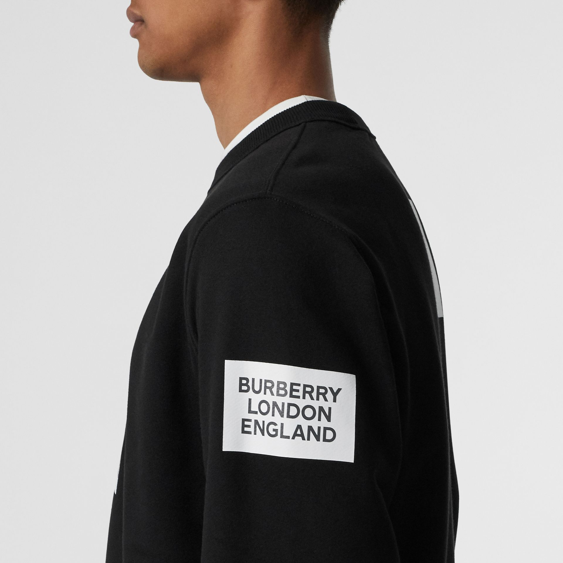Deer Print Cotton Sweatshirt in Black - Men | Burberry Singapore - gallery image 4