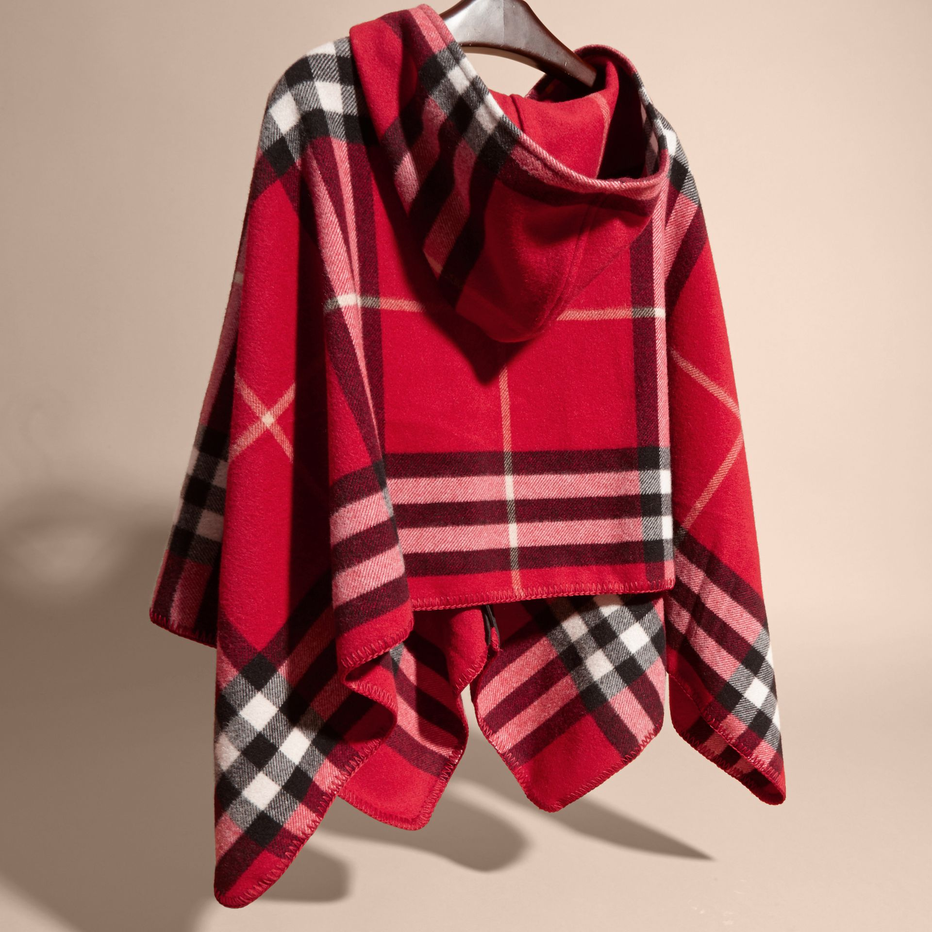 Parade red Check Wool Cashmere Hooded Poncho - gallery image 4
