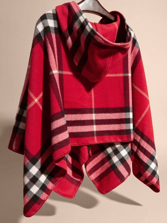 Check Wool Cashmere Hooded Poncho in Parade Red - Girl | Burberry - cell image 3
