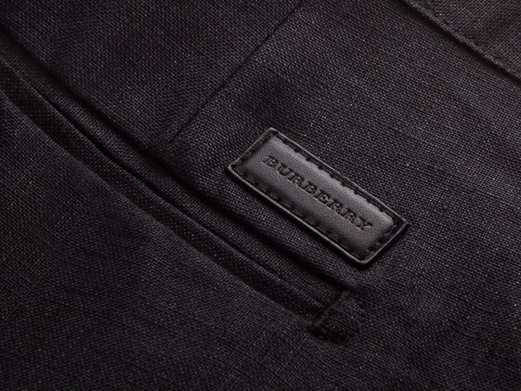 Lightweight Linen Shorts in Charcoal - Men | Burberry - cell image 1