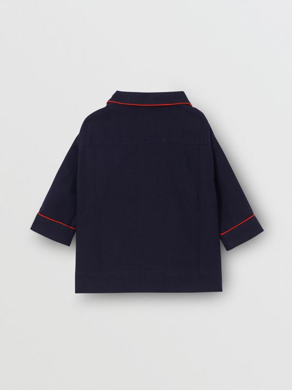 Thomas Bear Detail Cotton Flannel Pyjama Shirt in Navy - Children | Burberry - cell image 3