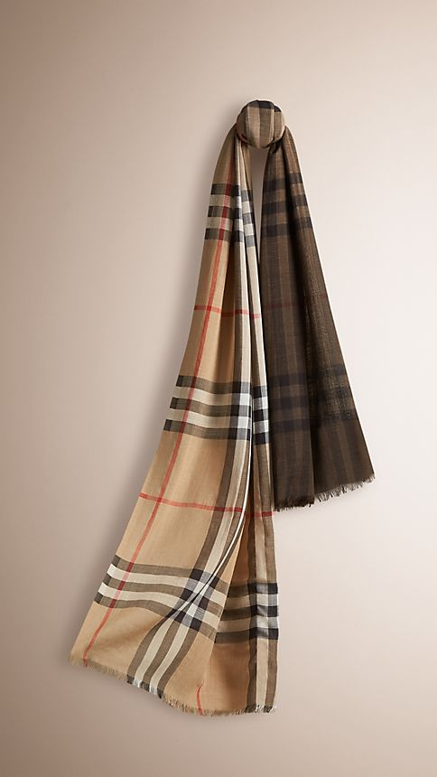 Camel check Lightweight Check Ombre Wool Silk Scarf - Image 1