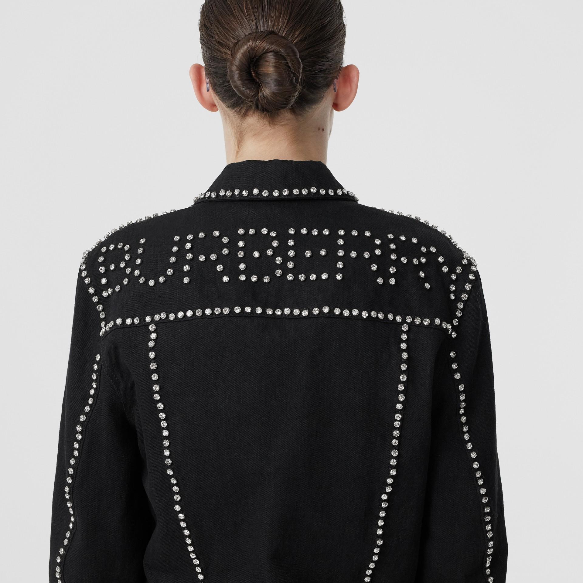 Crystal Logo Detail Japanese Denim Jacket in Black - Women | Burberry United Kingdom - gallery image 1