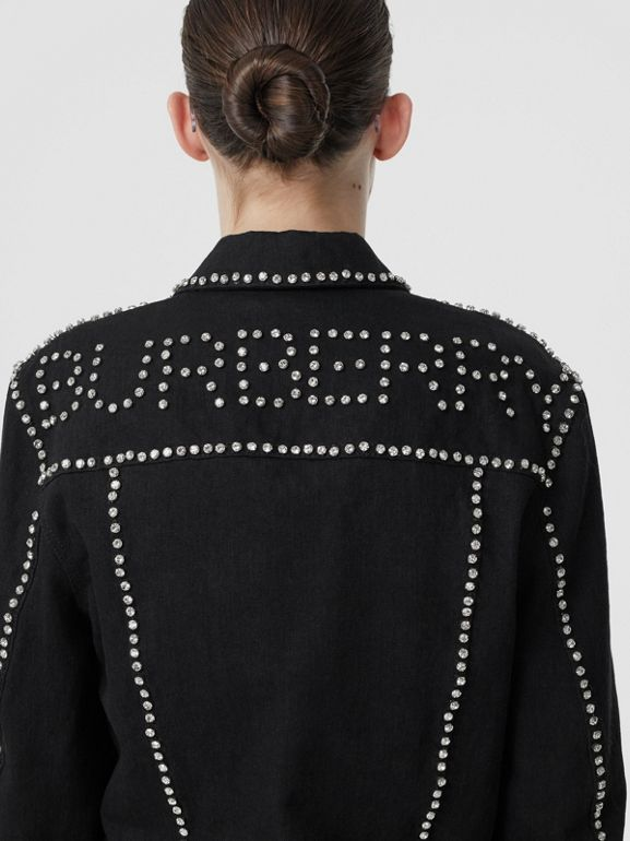 Crystal Logo Detail Japanese Denim Jacket in Black - Women | Burberry United Kingdom - cell image 1