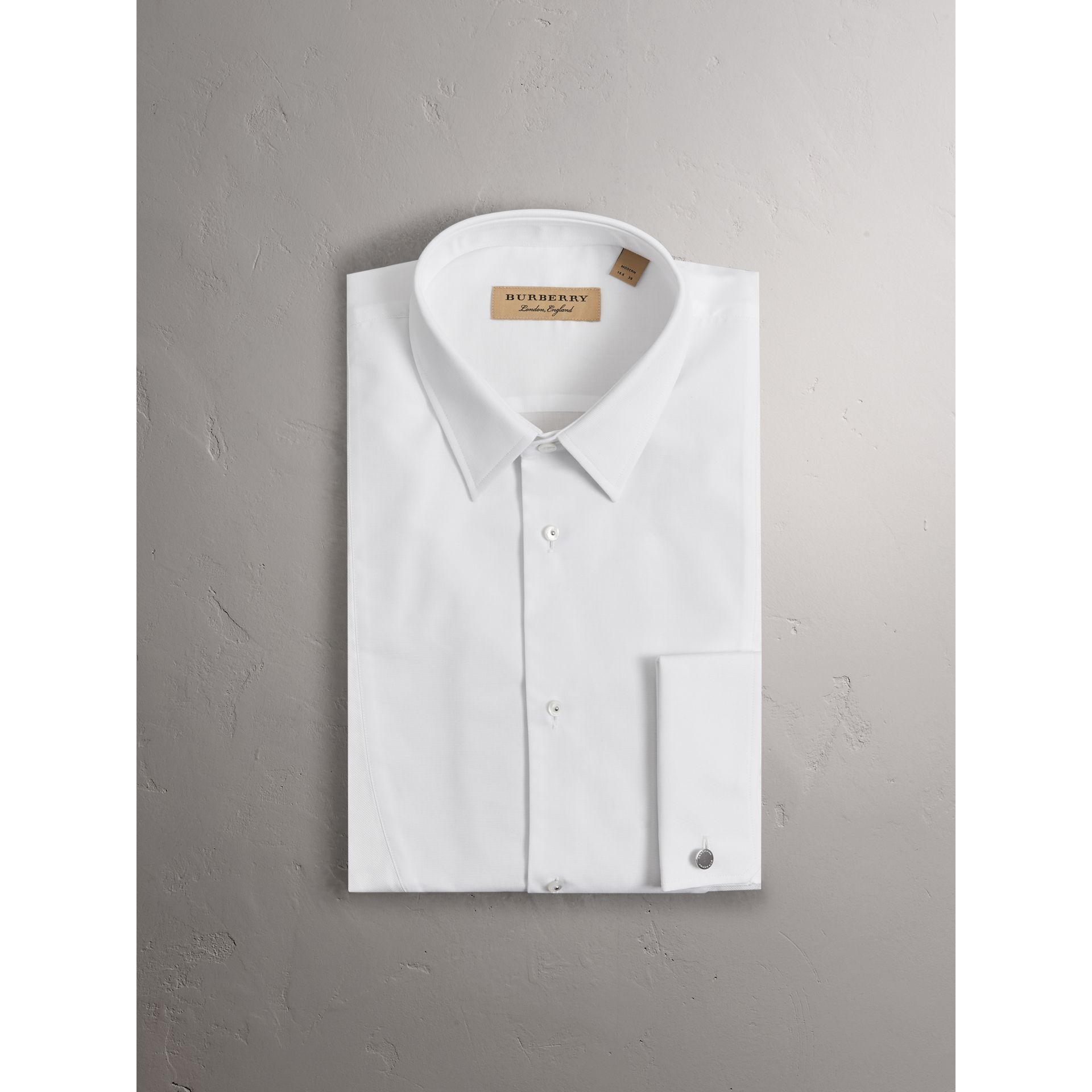 Modern Fit Panelled Bib Cotton Evening Shirt in White - Men | Burberry United Kingdom - gallery image 1