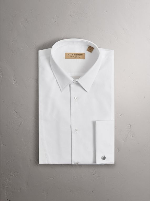 Modern Fit Panelled Bib Cotton Evening Shirt in White