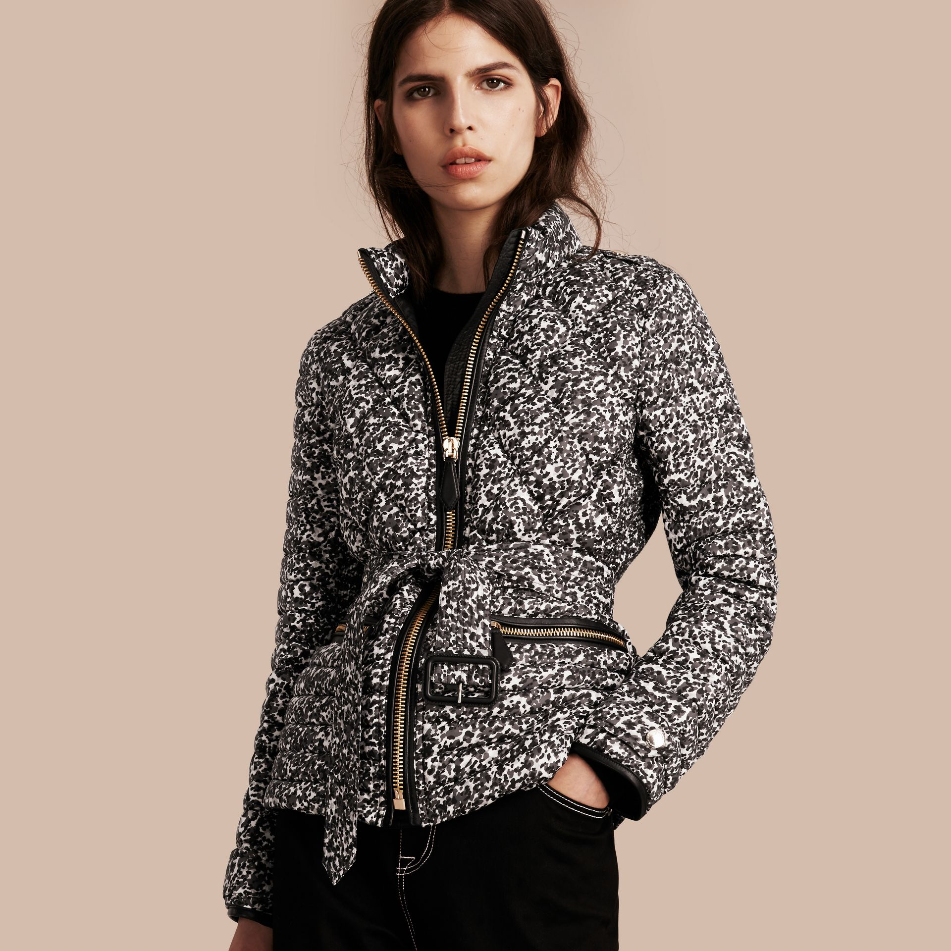 Mid grey Printed Down-filled Puffer - gallery image 1