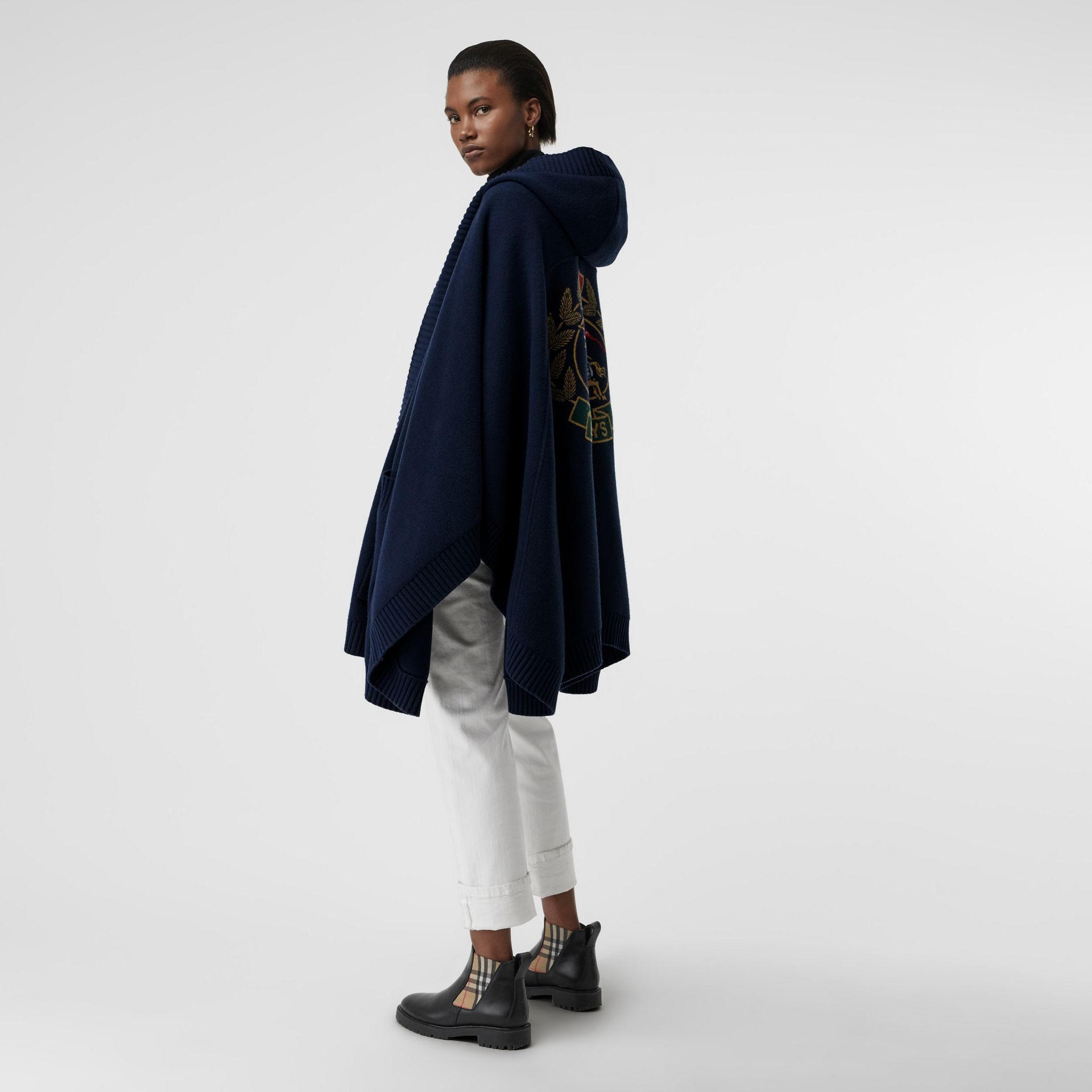 Crest Jacquard Wool Blend Hooded Cape in Navy - Women | Burberry - gallery image 4