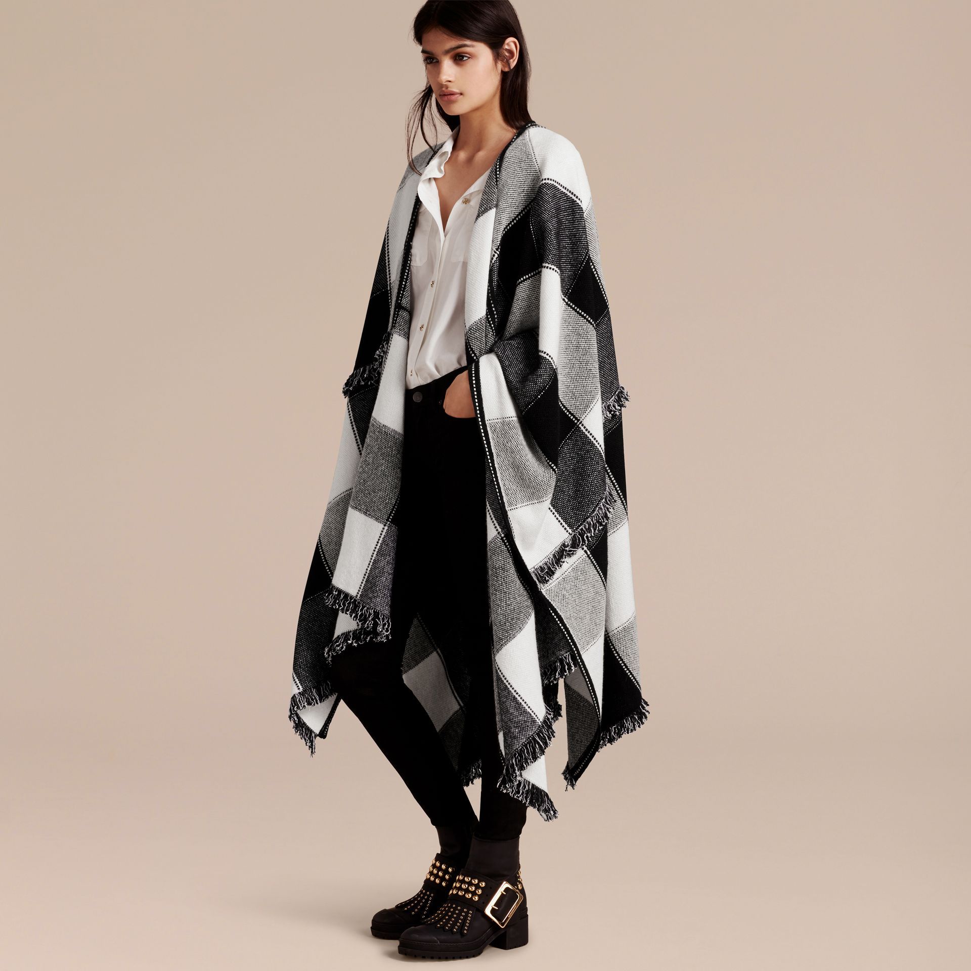 Black Check Wool Cashmere Cape with Fringing - gallery image 6