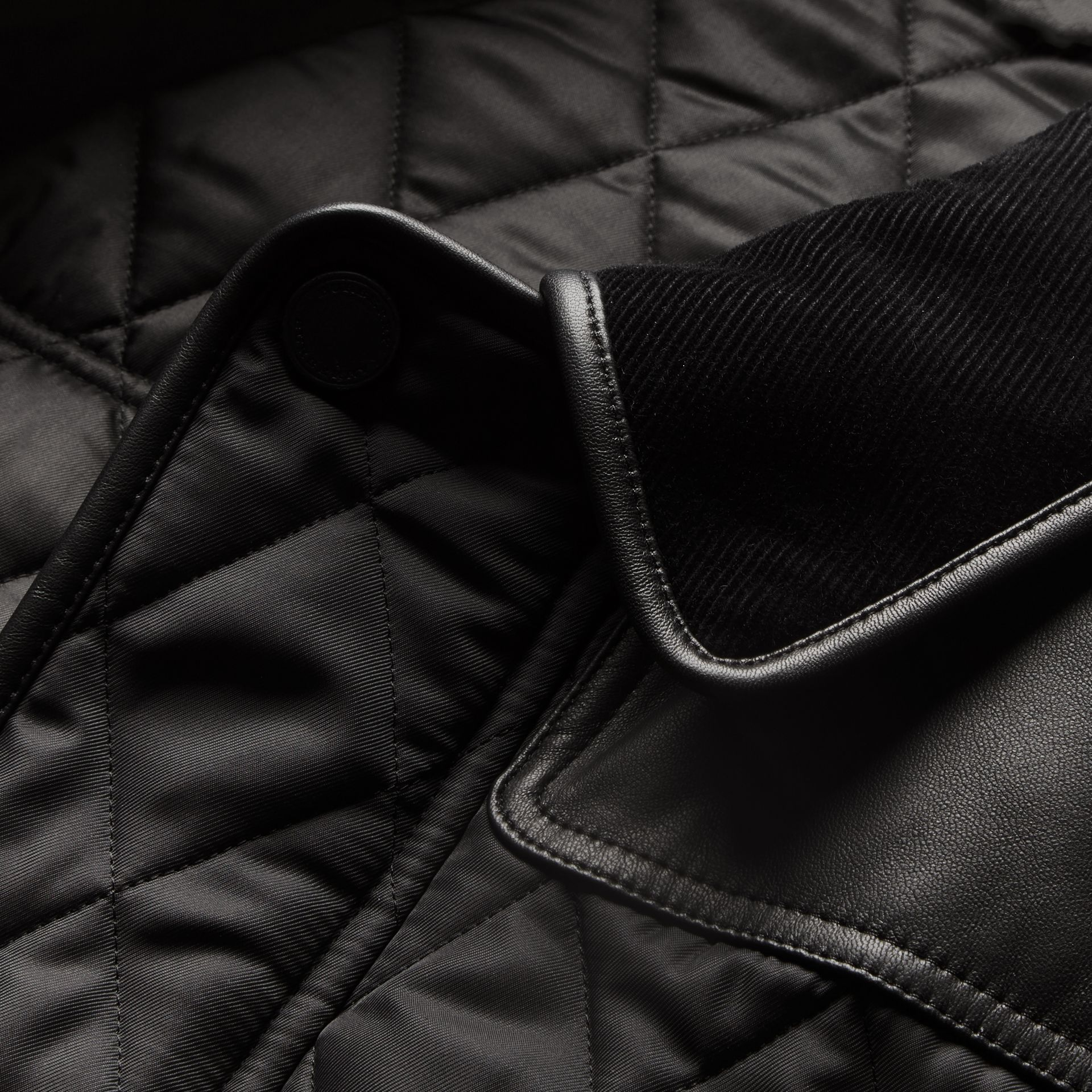 Black Lambskin Yoke Diamond Quilted Jacket - gallery image 2