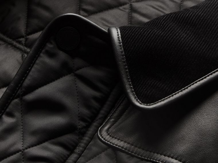 Black Lambskin Yoke Diamond Quilted Jacket - cell image 1