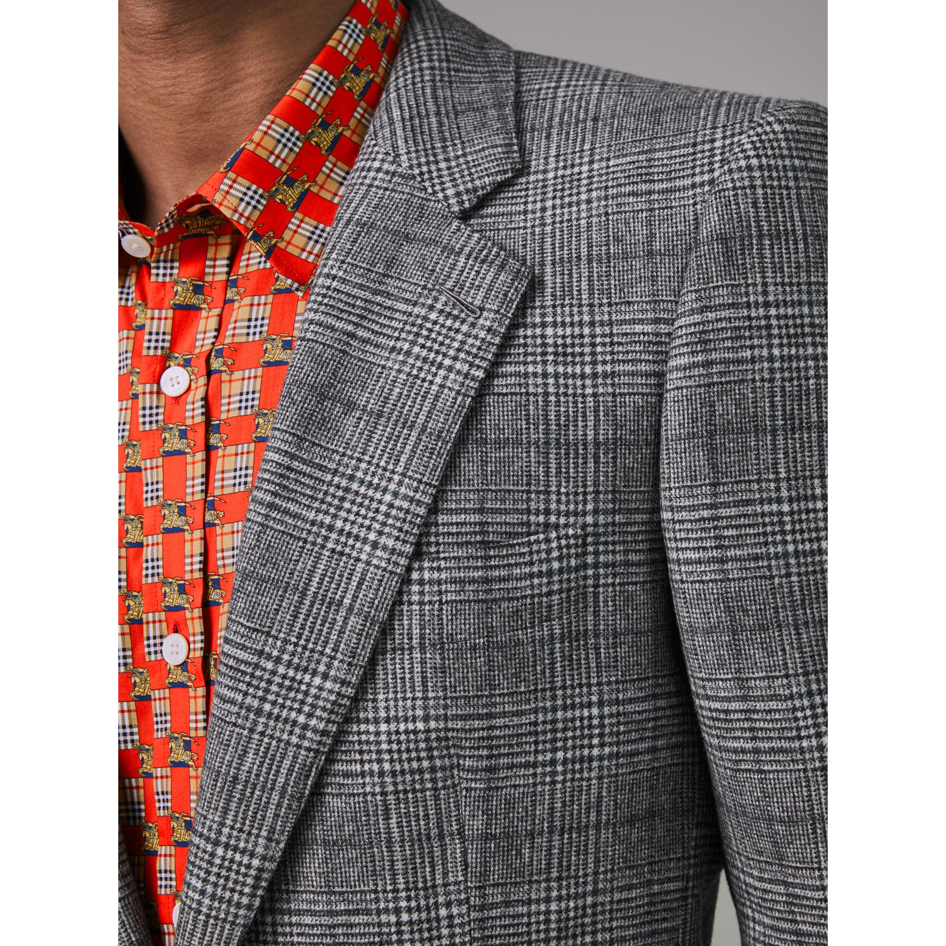 Slim Fit Prince of Wales Check Wool Tailored Jacket in Mid Grey Melange - Men | Burberry United States - gallery image 1