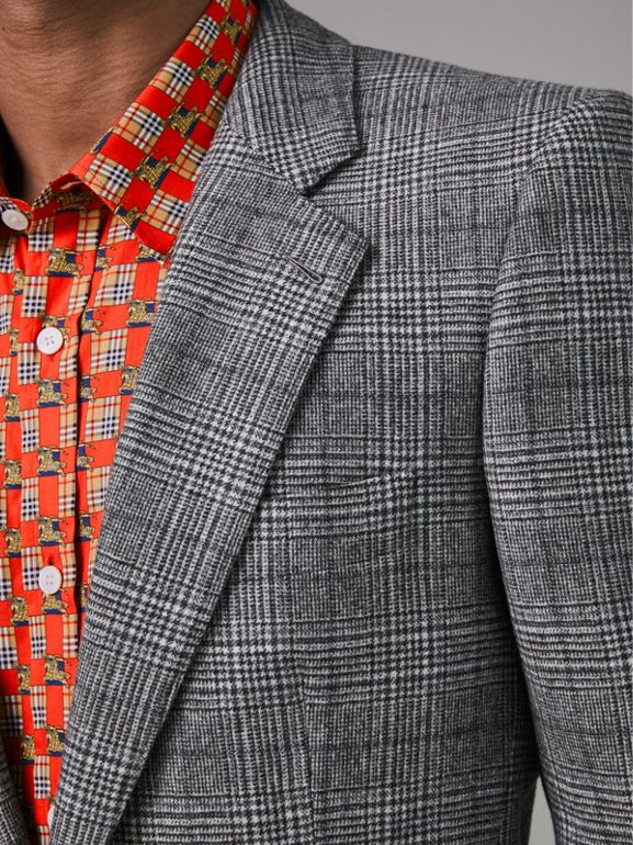 Slim Fit Prince of Wales Check Wool Tailored Jacket in Mid Grey Melange - Men | Burberry Canada - cell image 1