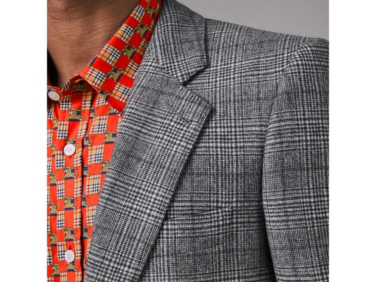 Slim Fit Prince of Wales Check Wool Tailored Jacket in Mid Grey Melange - Men | Burberry - cell image 1