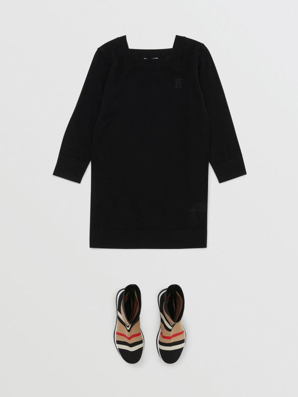 Monogram Motif Cashmere Sweater Dress in Black | Burberry - cell image 2