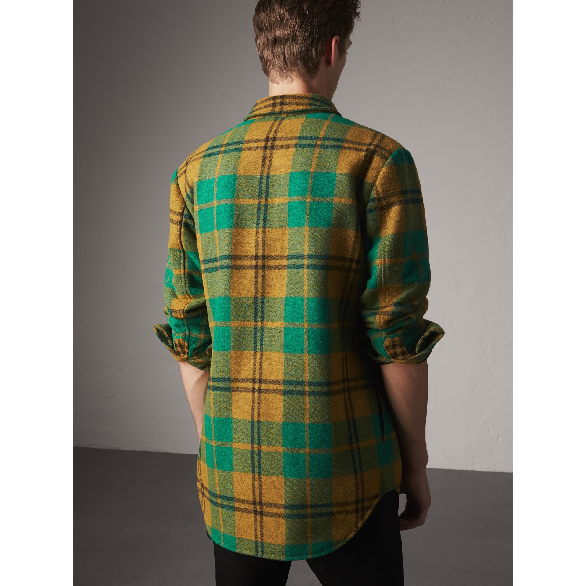 Quilt-lined Check Wool Cotton Blend Flannel Shirt in Amber Yellow - Men | Burberry - gallery image 3