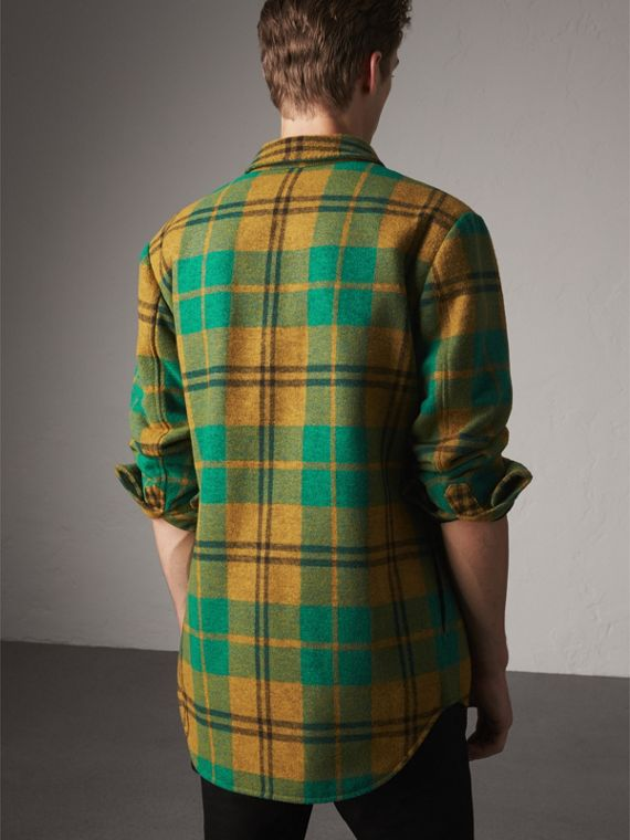 Quilt-lined Check Wool Cotton Blend Flannel Shirt in Amber Yellow - Men | Burberry - cell image 2