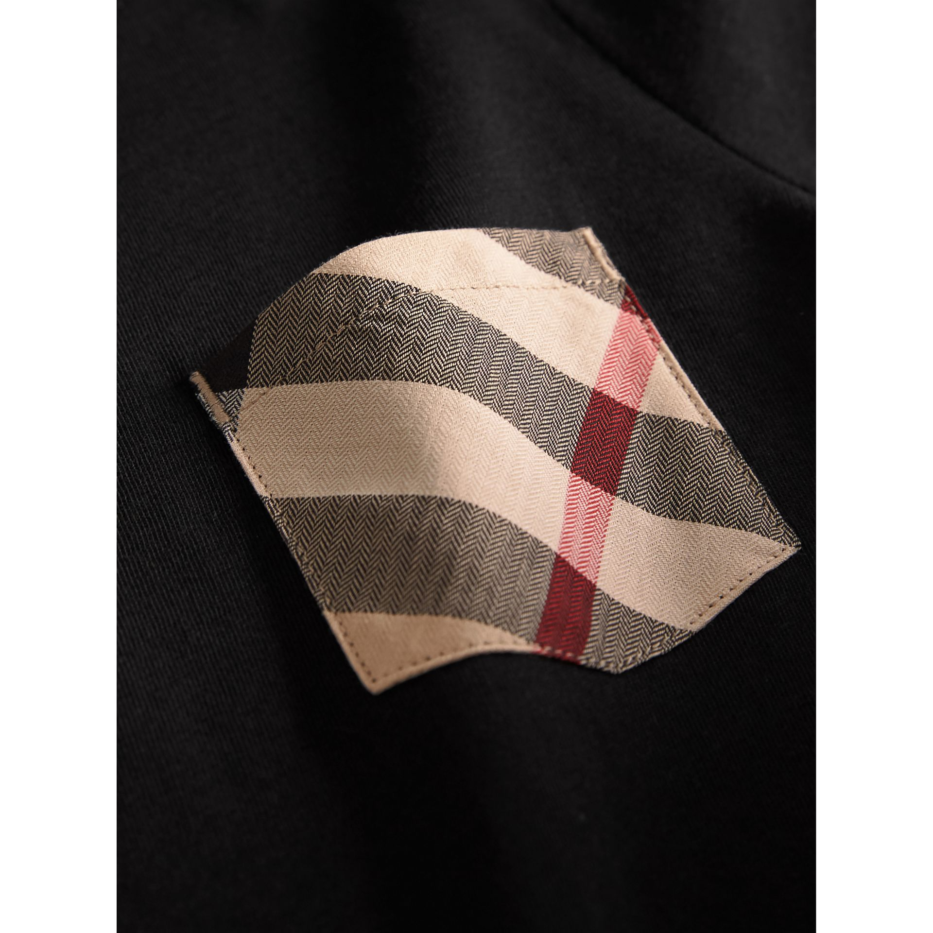 Check Pocket Cotton T-shirt in Black - Boy | Burberry - gallery image 1
