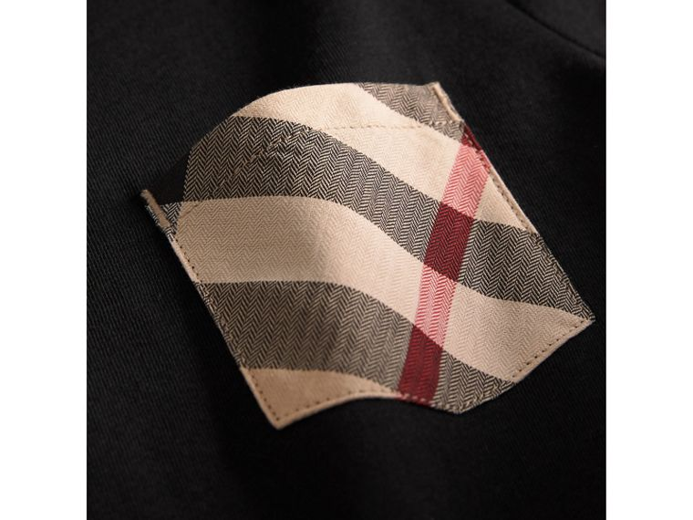 Check Pocket Cotton T-shirt in Black - Boy | Burberry - cell image 1