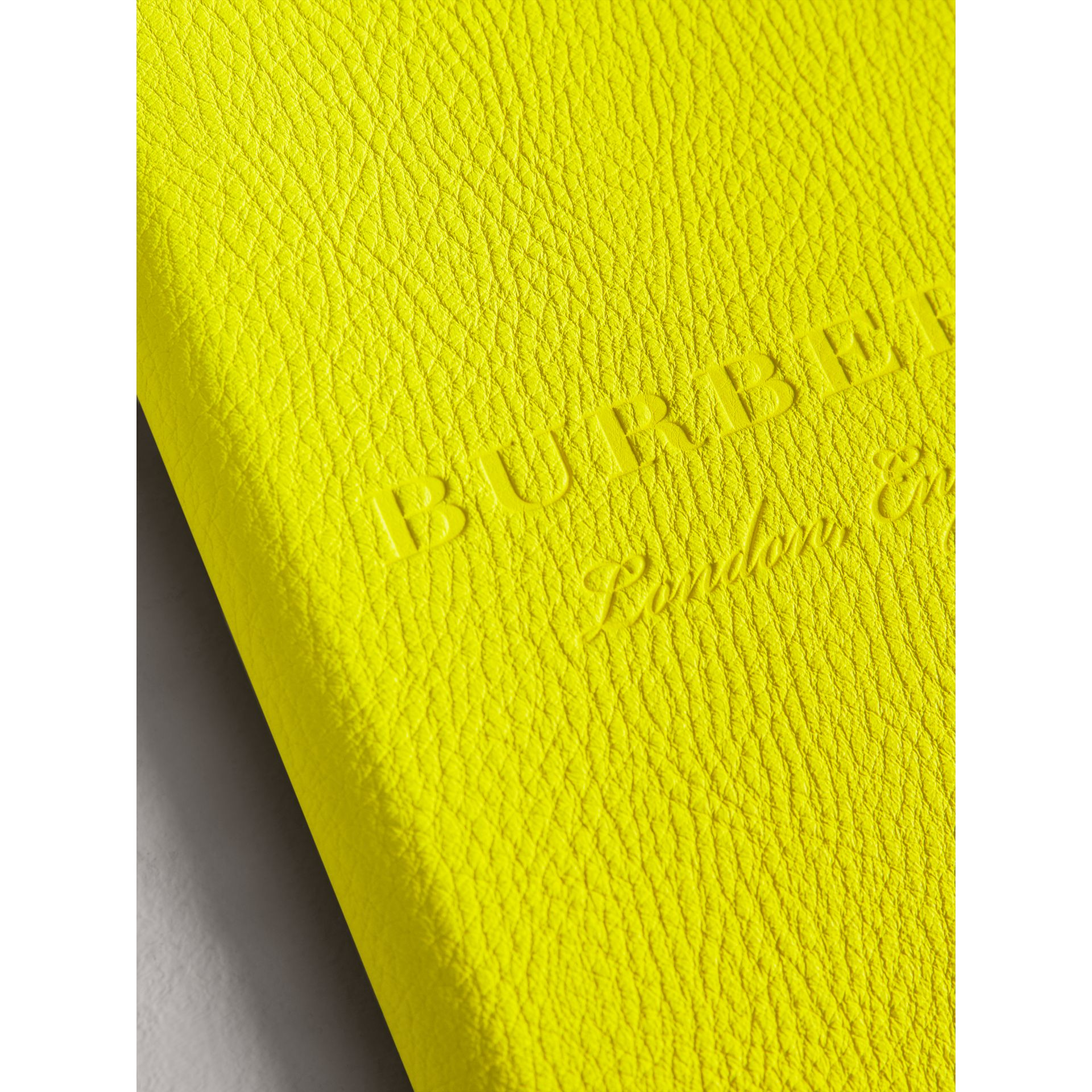 Embossed Grainy Leather Ziparound A5 Notebook Case in Bright Yellow | Burberry - gallery image 1