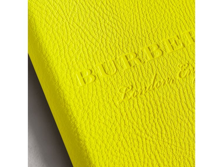 Embossed Grainy Leather Ziparound A5 Notebook Case in Bright Yellow | Burberry - cell image 1
